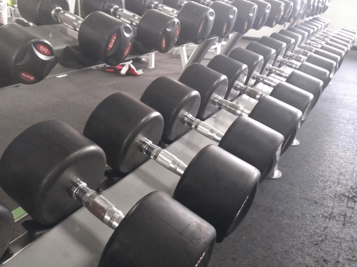 Free weights in the weight lifting area at The Fitness Bank, South Wigston, Leicester