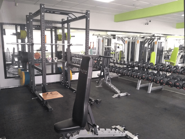 Power cage and bench in the weight lifting area at The Fitness Bank, South Wigston, Leicester